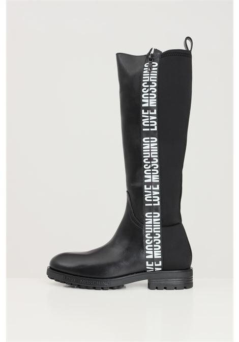 Stivali donna nero love moschino con bande logate LOVE MOSCHINO | Stivali | JA26024G1D-IA900A