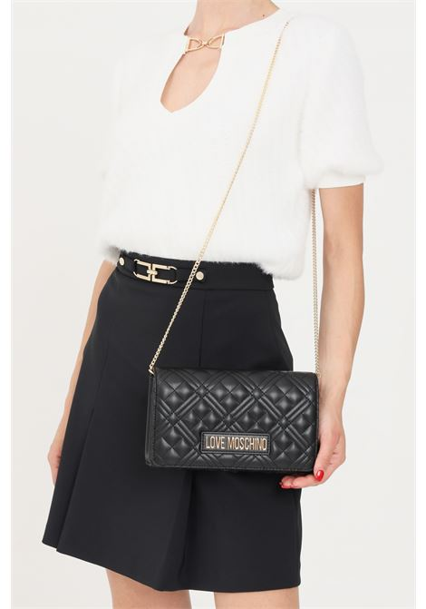 Black women's bag with gold chain shoulder strap love moschino  LOVE MOSCHINO | Bag | JC4079PP1D-LA2000