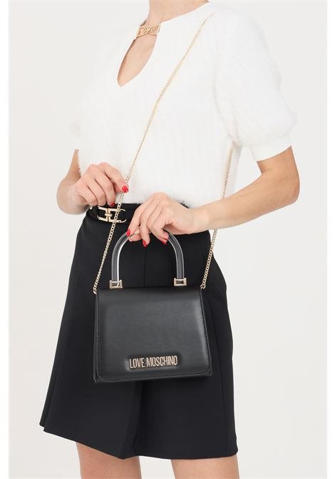 Black women's bag with chain shoulder strap and transparent handle love moschino LOVE MOSCHINO | Bag | JC4095PP1D-LA3000
