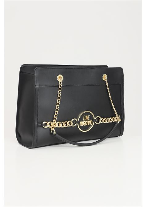 Black women's shopper with chain application and front logo love moschino LOVE MOSCHINO | Bag | JC4150PP1D-LE0000