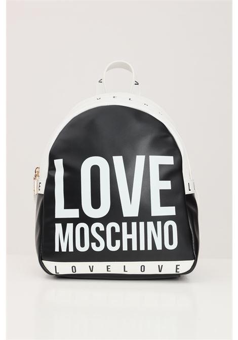 Zaino donna nero bianco love moschino con logo lettering a contrasto LOVE MOSCHINO | Zaini | JC4183PP1D-LI0000