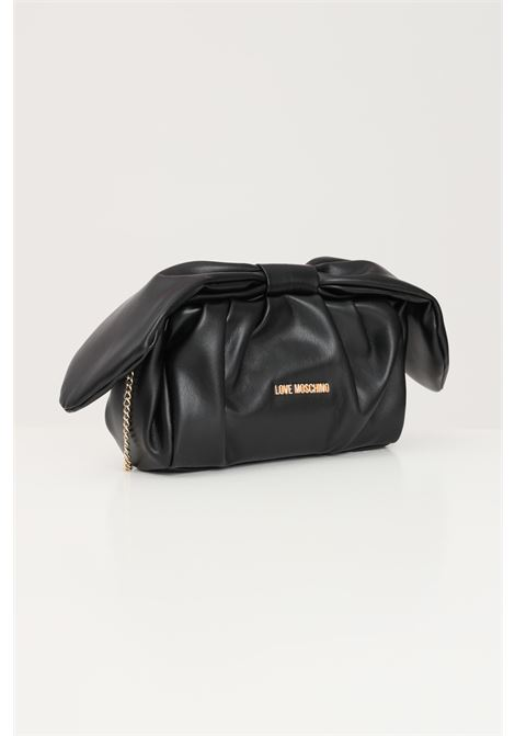 Black women's bag with gold chain shoulder strap love moschino  LOVE MOSCHINO | Bag | JC4187PP1D-LA3000