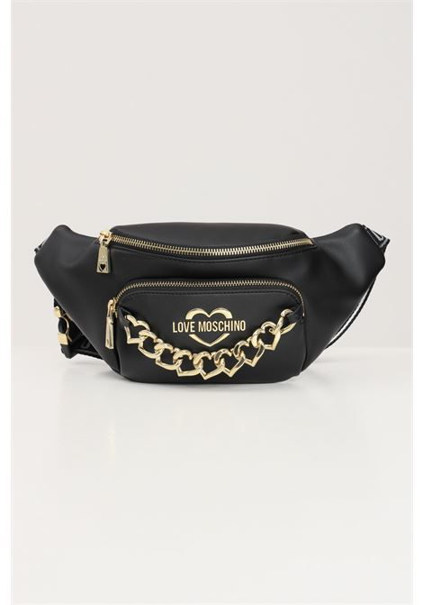Black women's pouch with decoractive heart rings love moschino  LOVE MOSCHINO | Pouch | JC4197PP1D-LK0000