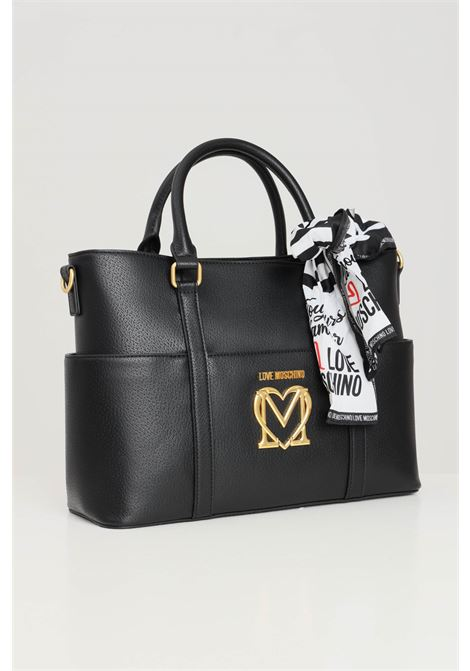 Black women's shopper with included foulard love moschino  LOVE MOSCHINO | Bag | JC4213PP1D-LL0000