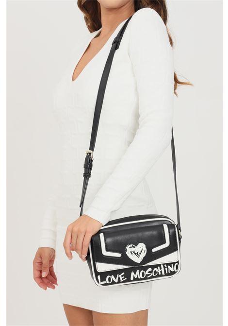 Borsa donna nero love moschino con tracolla e inserti logo e cuore a contrasto LOVE MOSCHINO | Borse | JC4257PP0D-KE100A