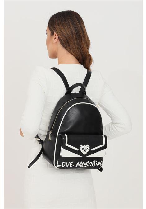 Zaino donna nero love moschino con inserti logo e cuore frontale a contrasto LOVE MOSCHINO | Zaini | JC4258PP0D-KE100A