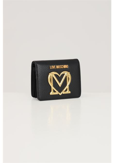 Black women's wallet with front logo in rilief love moschino  LOVE MOSCHINO | Wallet | JC5648PP1D-LL0000
