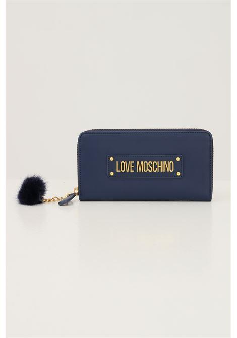 Portafogli donna blu love moschino con logo frontale in rilievo LOVE MOSCHINO | Portafogli | JC5673PP0D-KN0751