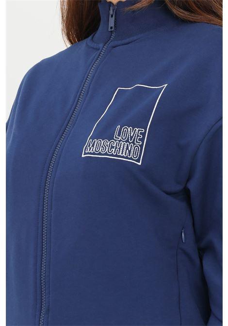 Blue women's sweatshirt by love moschino with zip LOVE MOSCHINO | Sweatshirt | W341201E2269Y58