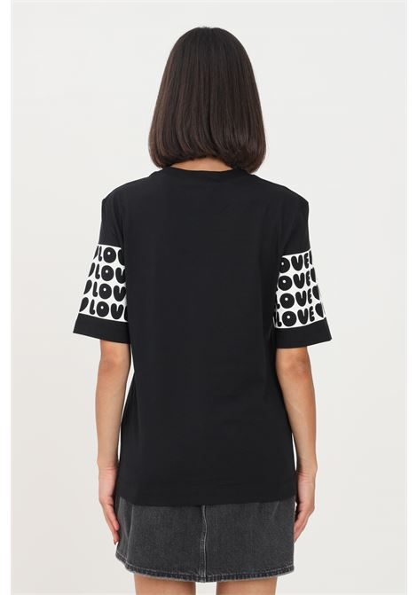 T-shirt donna nero love moschino con banda logata LOVE MOSCHINO | T-shirt | W4F153CM3876C74