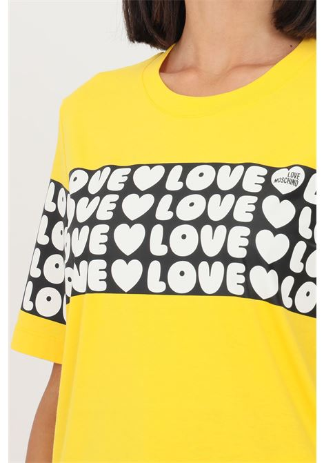 T-shirt donna giallo love moschino con banda logata LOVE MOSCHINO | T-shirt | W4F153CM3876I60
