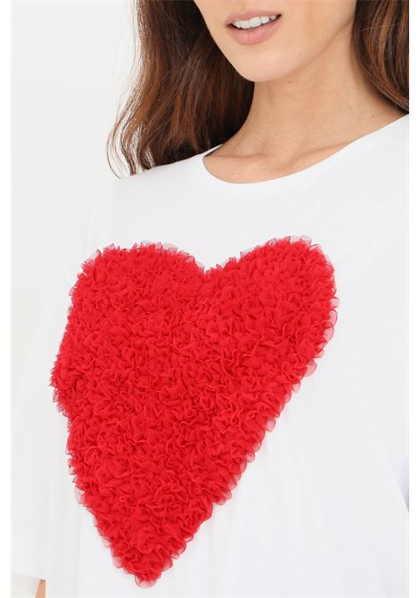 White women's t-shirt by love moschino, heart with ruffles LOVE MOSCHINO | T-shirt | W4F8742M35174003