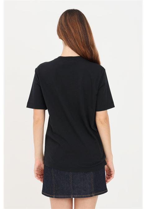Black women's t-shirt by love moschino with ruffles application LOVE MOSCHINO | T-shirt | W4H0614M3517C74