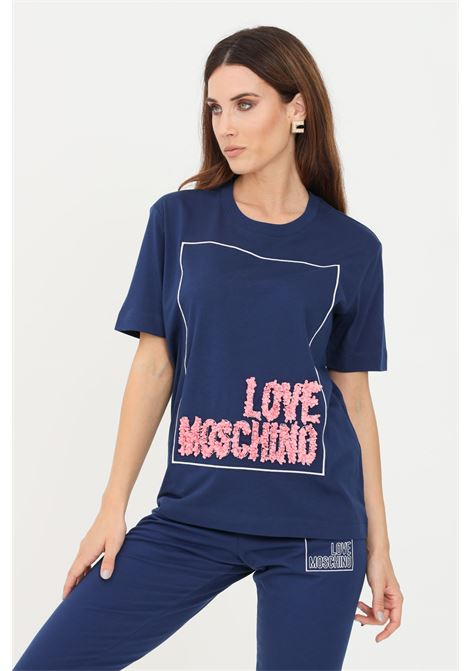 Blue women's t-shirt by love moschino with ruffles application LOVE MOSCHINO | T-shirt | W4H0614M3517Y58