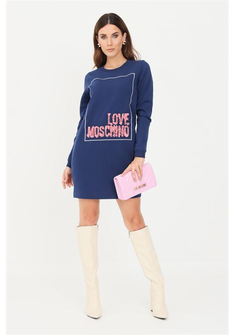 Blue women's dress by moschino logo with ruffles LOVE MOSCHINO | Dress | W584718E2269Y58