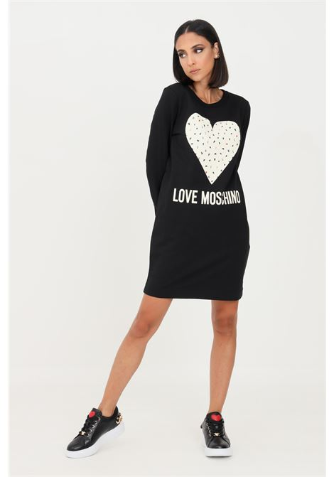 Abito donna nero love moschino corto con stampa cuore frontale LOVE MOSCHINO | Abiti | W584719E2288C74
