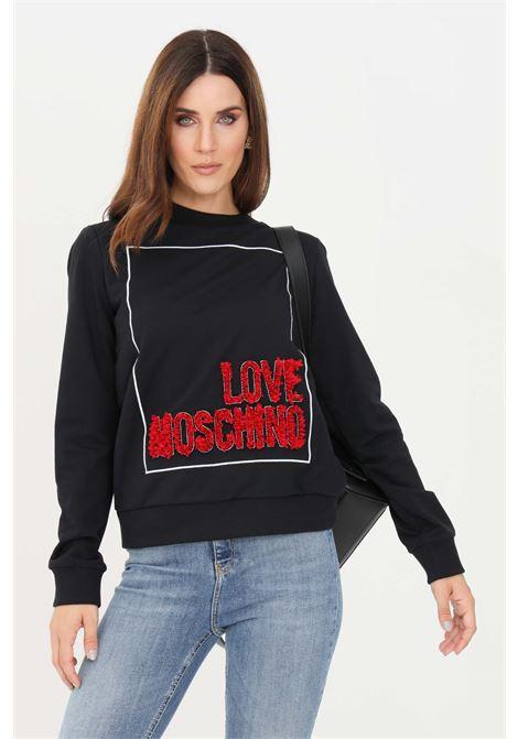 Black women's sweatshirt by moschino, logo lettering with ruffles LOVE MOSCHINO | Sweatshirt | W630223E2269C74