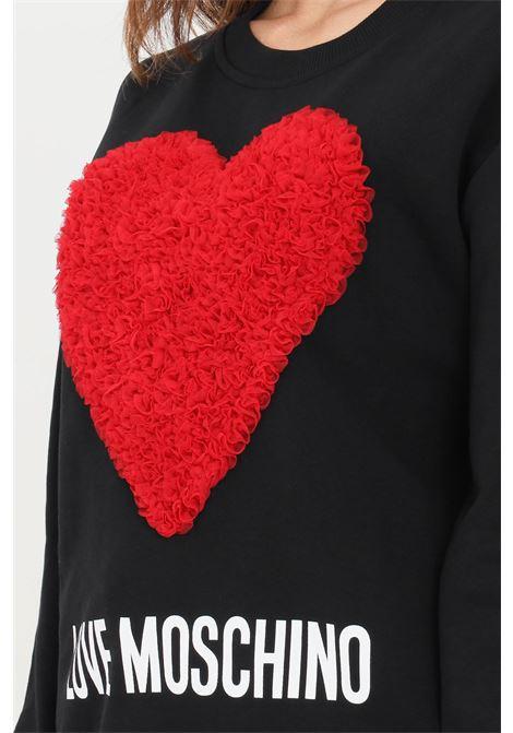Felpa girocollo nero donna moschino con cuore in rouches LOVE MOSCHINO | Felpe | W630645M40554005