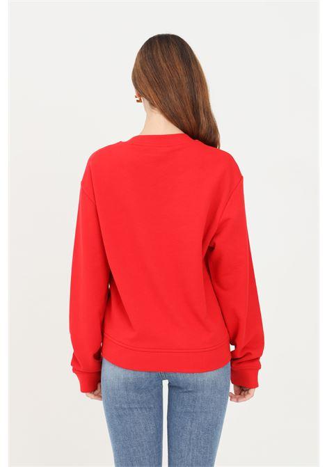 Red women's sweatshirt by moschino front heart with ruffles LOVE MOSCHINO | Sweatshirt | W630645M40554015