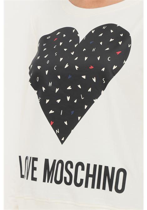 Felpa panna donna love moschino con maxi stampa sul fronte LOVE MOSCHINO | Felpe | W632208E2288A12