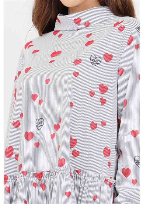Blue women's blouse by moschino with hearts print LOVE MOSCHINO | Blouse | WCE1300S35626004