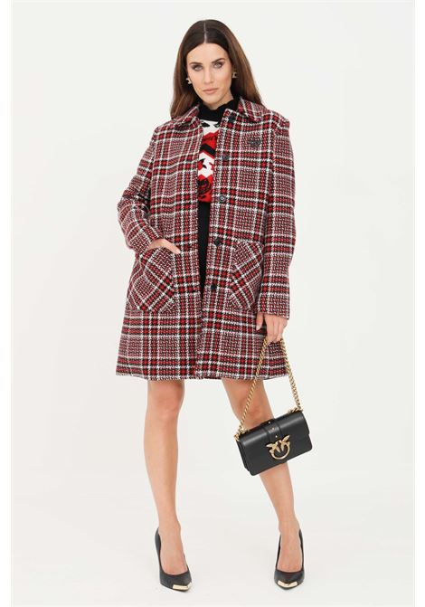 Red women's coat by love moschino with multicolor weft LOVE MOSCHINO | Coat | WK51680T136AROSSO/NERO/BCO
