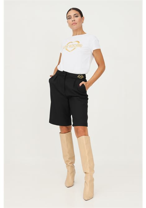 Black women's shorts by love moschino with gold logo embroidery on the front LOVE MOSCHINO | Shorts | WO16701S3668C74