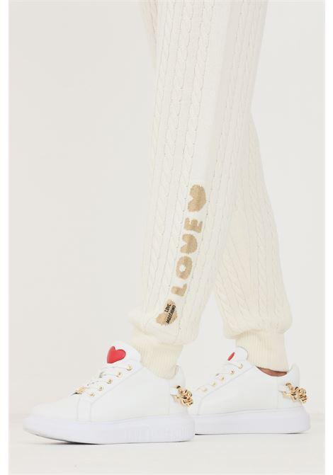 Pantaloni donna bianco love moschino in maglia LOVE MOSCHINO | Pantaloni | WS65R11X1449A01