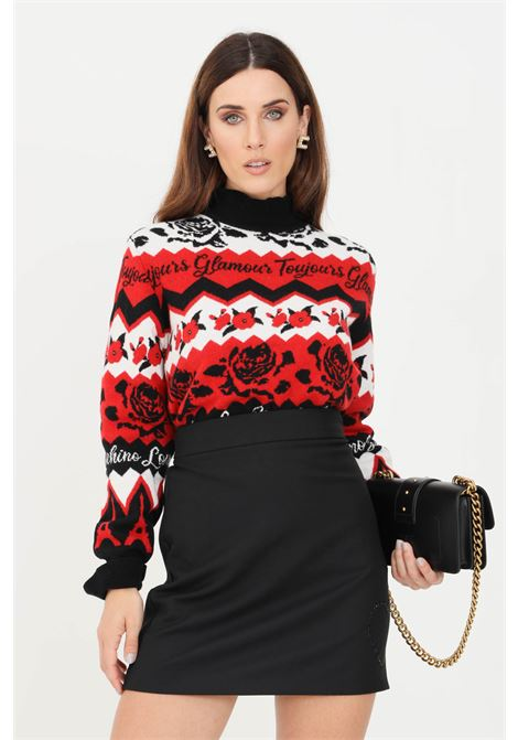 Women's sweater by love moschino with all-over print LOVE MOSCHINO | Knitwear | WS79G10XA110C74