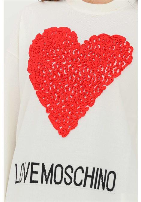Cream women's sweater by love moschino heart with ruffles LOVE MOSCHINO | Knitwear | WS80G11X13064026