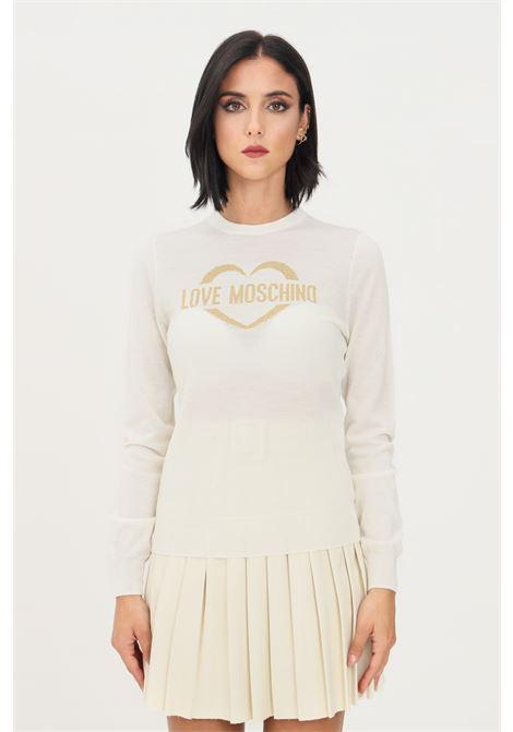 Maglioncino bianco donna love moschino con ricamo sul fronte oro LOVE MOSCHINO | Maglieria | WS87G10X1376A02