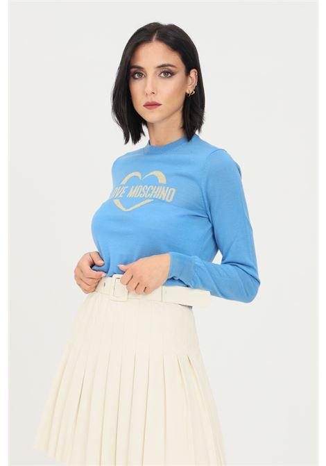 Maglioncino donna azzurro love moschino con ricamo oro frontale LOVE MOSCHINO | Maglieria | WS87G10X1376Y08