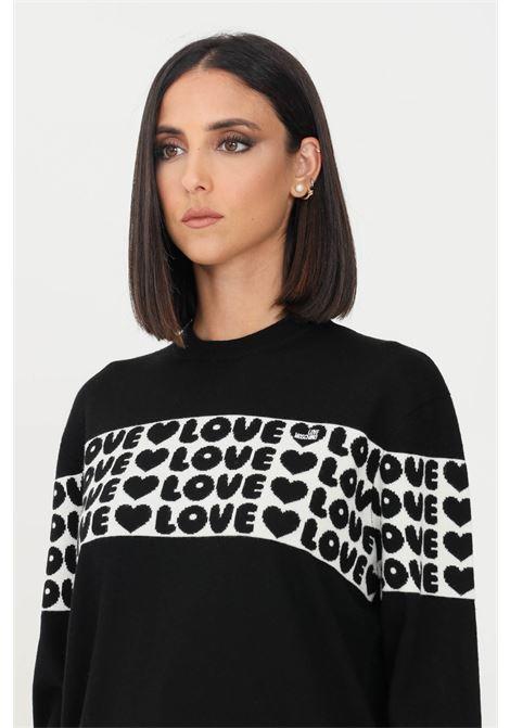 Maglioncino donna nero love moschino girocollo con banda logata LOVE MOSCHINO | Maglieria | WS97G11X1148C74