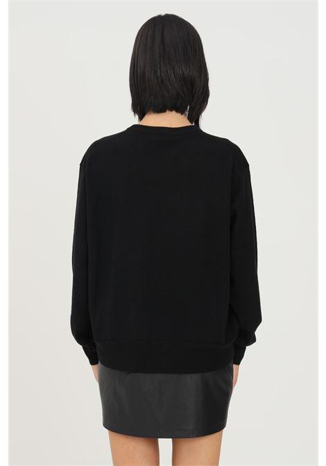 Maglioncino donna nero love moschino a girocollo con logo ricamato a contrasto LOVE MOSCHINO | Maglieria | WS98G11X1148C74