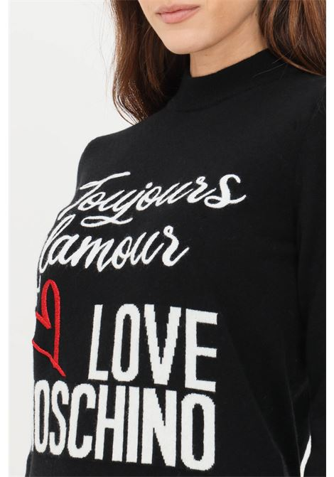 Black women's sweater by love moschino with relief details LOVE MOSCHINO | Knitwear | WSD2111X1434C74