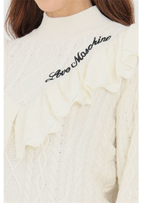 Cream women's sweater by love moschino with flounces on the front LOVE MOSCHINO | Knitwear | WSD2211X1439A02