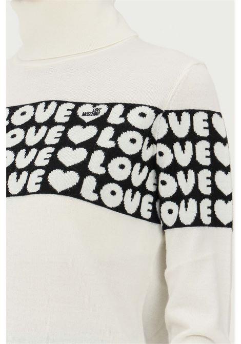 Maglioncino panna donna love moschino con trama pattern cuori LOVE MOSCHINO | Maglieria | WSD2311X1148A01