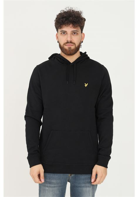 Felpa uomo nero lyle & scott con cappuccio e applicazione logo frontale LYLE & SCOTT | Felpe | LSML1139VML1139VZ865