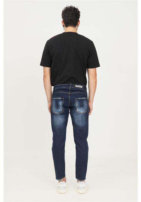 Blue men's jeans by maison 9 paris, buttons closure MAISON 9 PARIS   Jeans   M9J141.