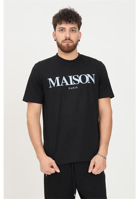 Black men's t-shirt by maison 9 paris with maxi logo embroidery on the front, short sleeve MAISON 9 PARIS   T-shirt   M9M2333.