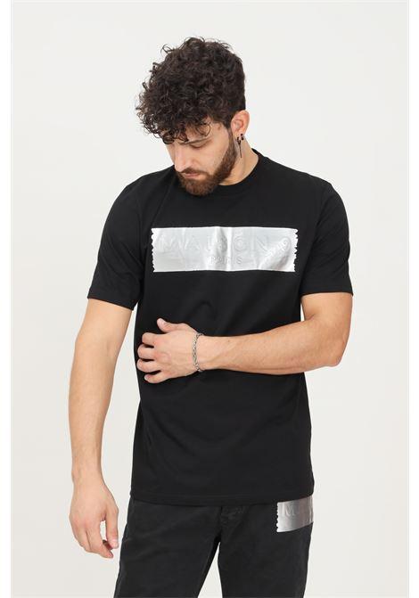 Black men's t-shirt by maison 9 paris with silver logo band, short sleeve MAISON 9 PARIS   T-shirt   M9M2345NERO-ARG