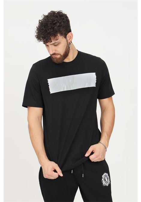Black men's t-shirt by maison 9 paris with white logo band, short sleeve MAISON 9 PARIS   T-shirt   M9M2345NERO-B