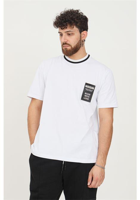 White men's t-shirt by maison 9 paris with logo patch on the front, short sleeve MAISON 9 PARIS   T-shirt   M9M2346BIANCA