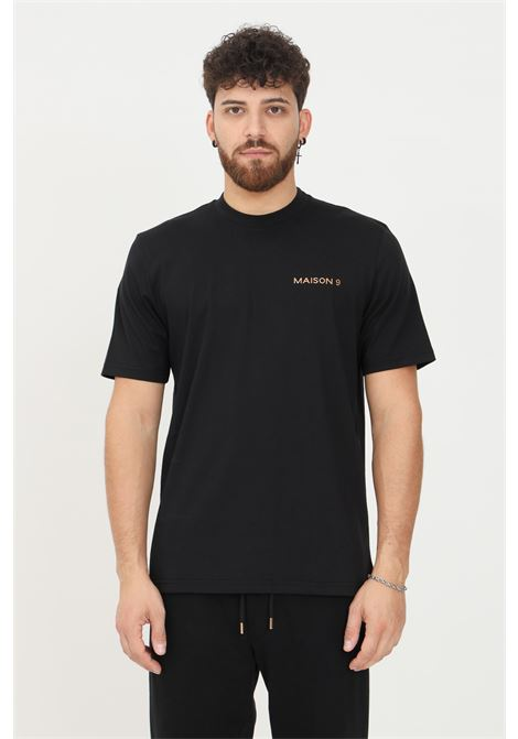 Black men's t-shirt by maison 9 paris with maxi logo application on the back, short sleeve MAISON 9 PARIS   T-shirt   M9M2350NERO