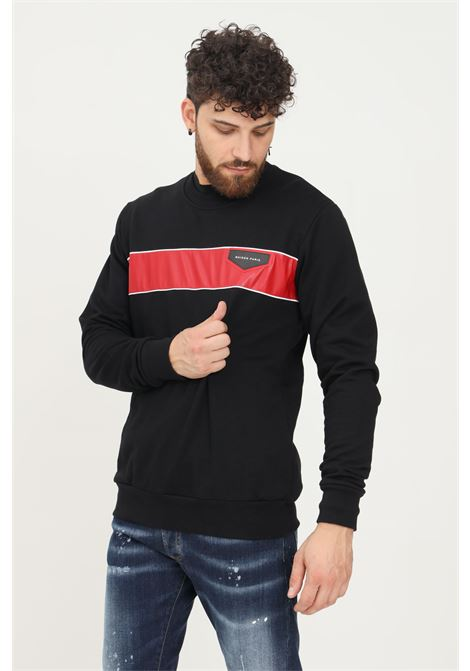 Black men's sweatshirt by maison 9 paris, crew neck model with contrasting band   MAISON 9 PARIS   Sweatshirt   M9MF2139NERO