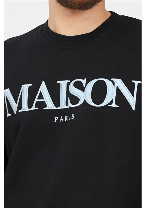 Black men's sweatshirt by maison 9 paris, crew neck model with logo embroidery on the front MAISON 9 PARIS   Sweatshirt   M9MF2155NERO