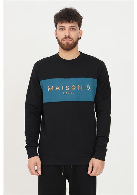 Black men's sweatshirt by maison 9 paris, crew neck model with front logo application MAISON 9 PARIS   Sweatshirt   M9MF2173NERO