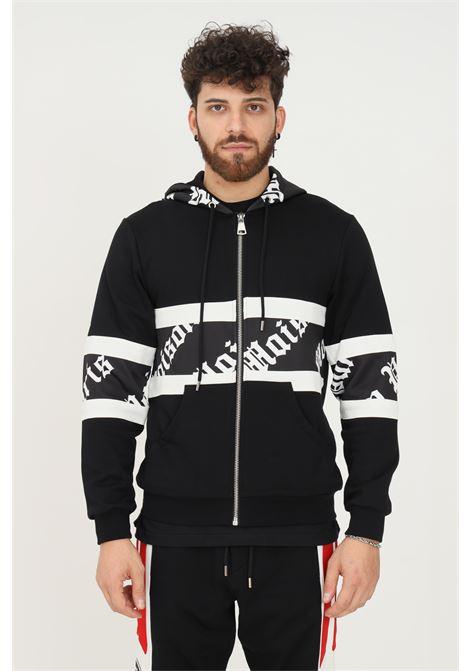 Black men's hoodie by maison 9 paris with zip MAISON 9 PARIS   Sweatshirt   M9MF2182NERO-BIANCO