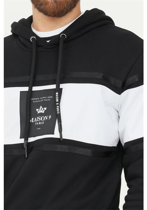 Black men's hoodie by maison 9 paris with logo patch on the front MAISON 9 PARIS   Sweatshirt   M9MF2193NERO