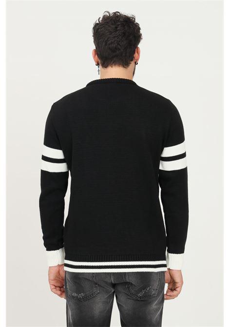 Black men's sweater by maison 9 paris with maxi logo application, crew neck model MAISON 9 PARIS   Knitwear   M9ML0010NERO